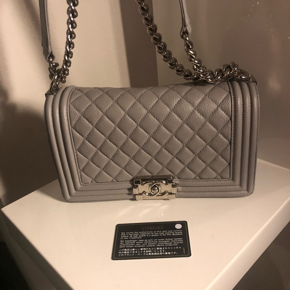 aae64a64839a90 CHANEL Bags | Sold Auth Grey Caviar Shw Medium Le Boy | Poshmark